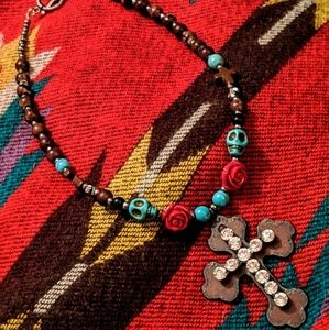 Jewelry - Handcrafted Beaded Embellished Cross Necklace